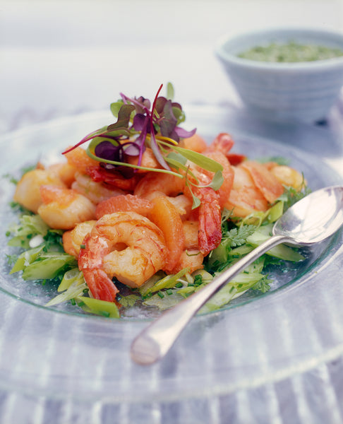 Scallops and Prawns with Celery and Herb Salad, Grapefruit and Celery Leaf Pesto