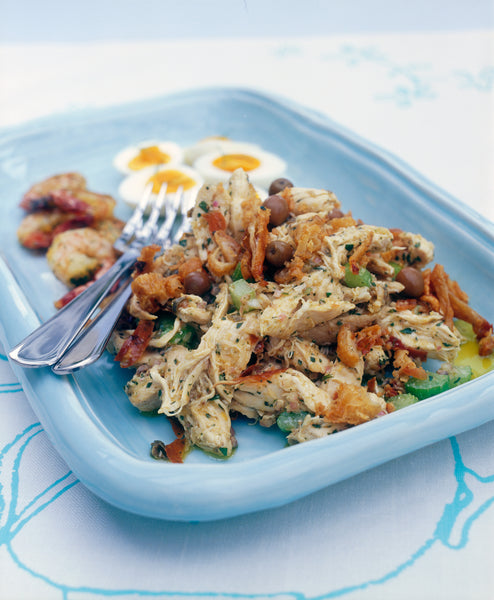 Chicken and Tarragon Salad with Soft-Boiled Eggs, Herbed Prawns and Capers