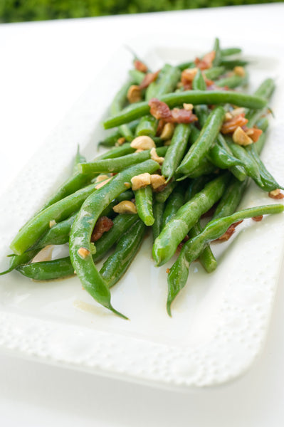 Green Beans with Mustard Dressing, Crispy Bacon and Hazelnuts