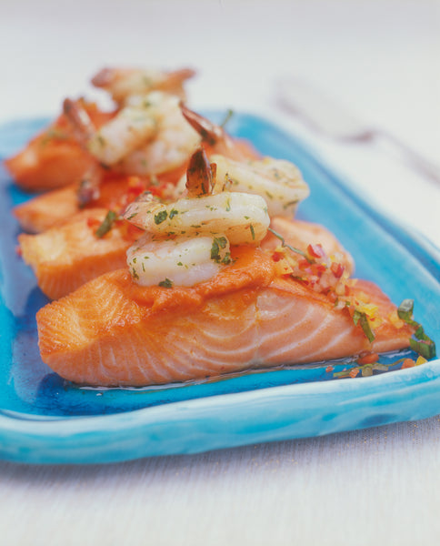 Salmon Fillets with Sweet Red Pepper Sauce and Herbed Prawns