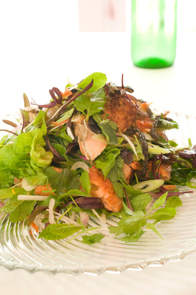 Soy Marinated Salmon and Herb Salad with Lime and Palm Sugar Dressing