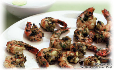 BARBECUED PRAWNS WITH GREEN BEAN SALAD AND SESAME GINGER DRESSING