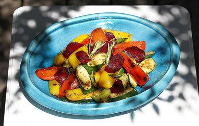 Barbecued Vegetable Salad with Beetroot Shavings and Tarragon