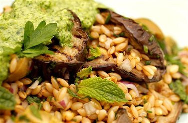 Barley, Roasted Eggplant and Green Olive Salad with Rocket Pesto