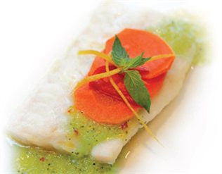 Blue Cod with Minted Cucumber Sauce, Coriander and Carrot Pickle