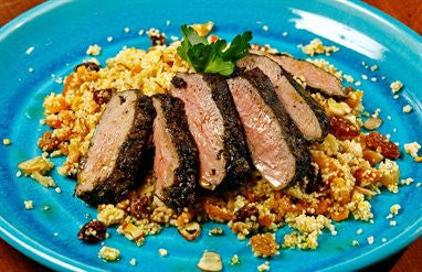 Chermoula Lamb with Couscous, Dried Fruit and Mint Salad