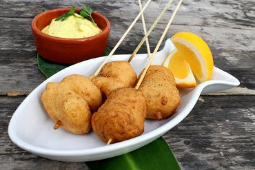 Coconut Battered Fish and Banana Kebabs  with Curry Dipping Sauce