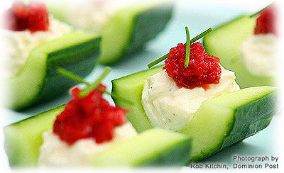 CUCUMBER CASES WITH FETA AND CRANBERRY AND ORANGE RELISH