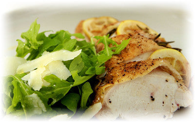 GARLIC AND LEMON CHICKEN WITH ROCKET