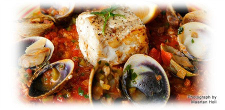 Grilled Groper Fillet with Steamed Clams, Chorizo and Tomato Ragout