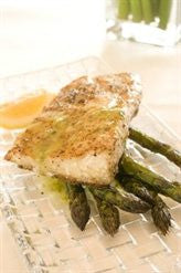 Groper with Lemon Herb Dressing and Oven Roasted Asparagus