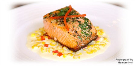 HERB AND PEPPER CRUSTED SALMON WITH CREAMED SWEET CORN