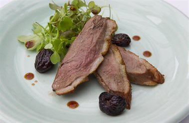 Home Smoked Duck with Roasted Mustard Cherries