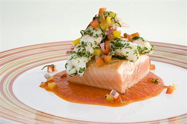 King Salmon with Sweet Pepper Sauce and Scampi Tails