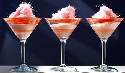 Layered Champagne Jelly and Raspberry Bavarois with Fairy Floss