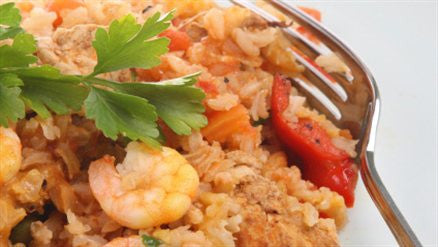 Oven Style Paella with Fish and Prawns