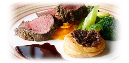 PEPPERED FARM-RAISED VENISON WITH BEETROOT JUS, CARAMELISED ONION TART AND PARSNIP AND CARROT MASH