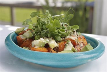 Roast Carrot and Avocado Salad with Citrus Sour Cream and Crunchy Seeds