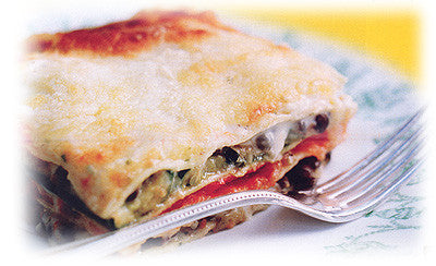 ROASTED EGGPLANT, RED PEPPER AND ZUCCHINI LASAGNE WITH PUY LENTILS