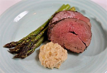 Roasted Farm Raised Venison with White Bean Garlic Dip