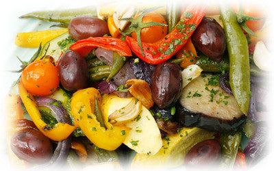 ROASTED VEGETABLE SALAD WITH OLIVES AND HERBS