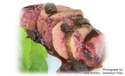 ROASTED VENISON WITH PICKLED BLACKBERRY SAUCE