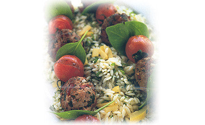 SKEWERED LAMB WITH BOCCONCINI CENTRES