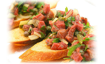 STEAK TARTARE ON CROSTINI