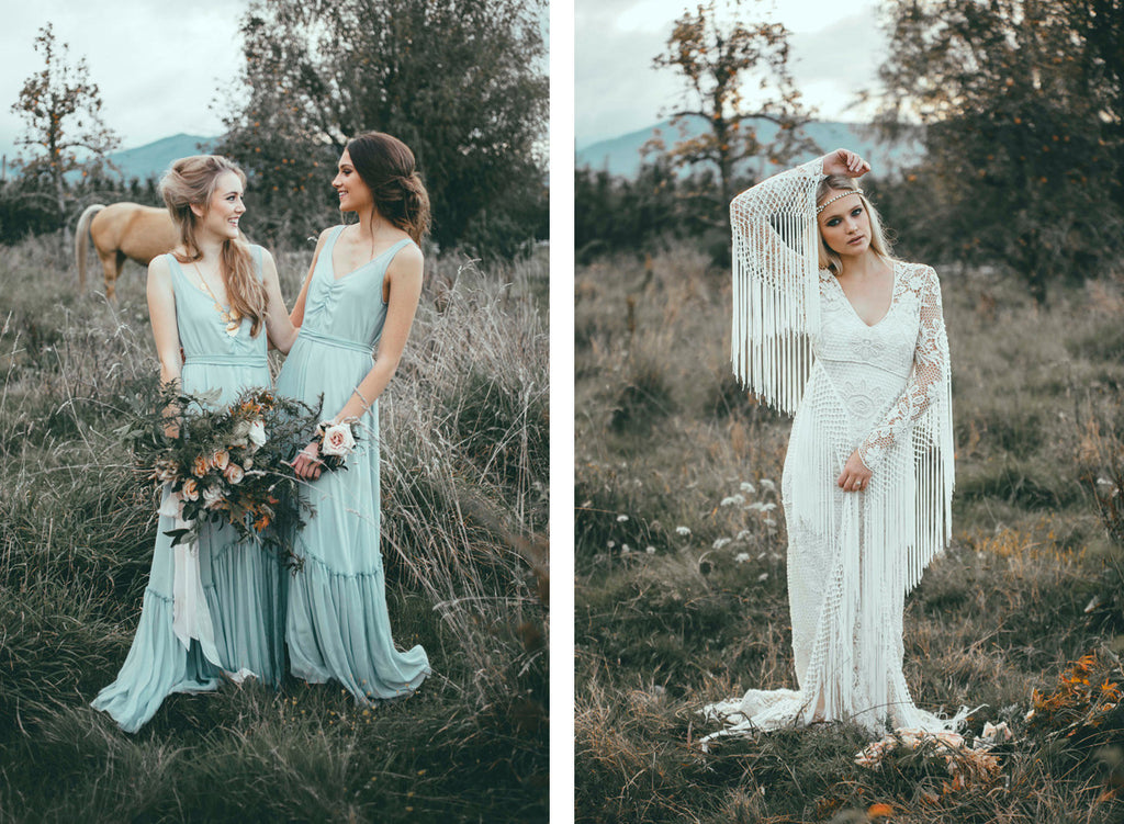 Wild Opulence Bohemian Styled Shoot Ruffle Hem Bridesmaid Dresses Victor Bridesmaid