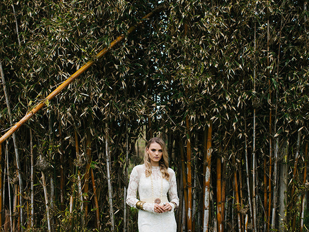 Dark moody bridesmaid and bride styled shoot with blush and yellow bohemian style bridesmaid dresses