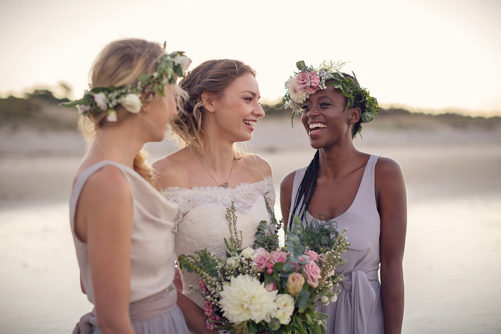 Bridesmaid and bride bohemian styled beach shoot. Victor bridesmaid dresses made in new zealand
