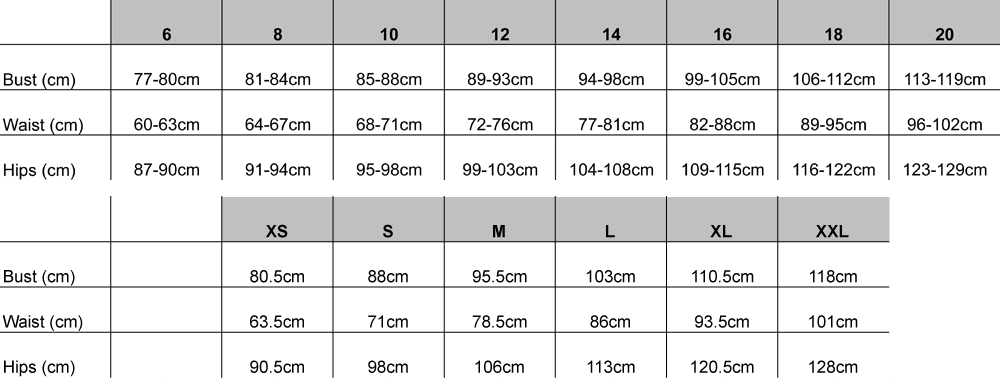 ViCTOR Bridesmaid Size Guide