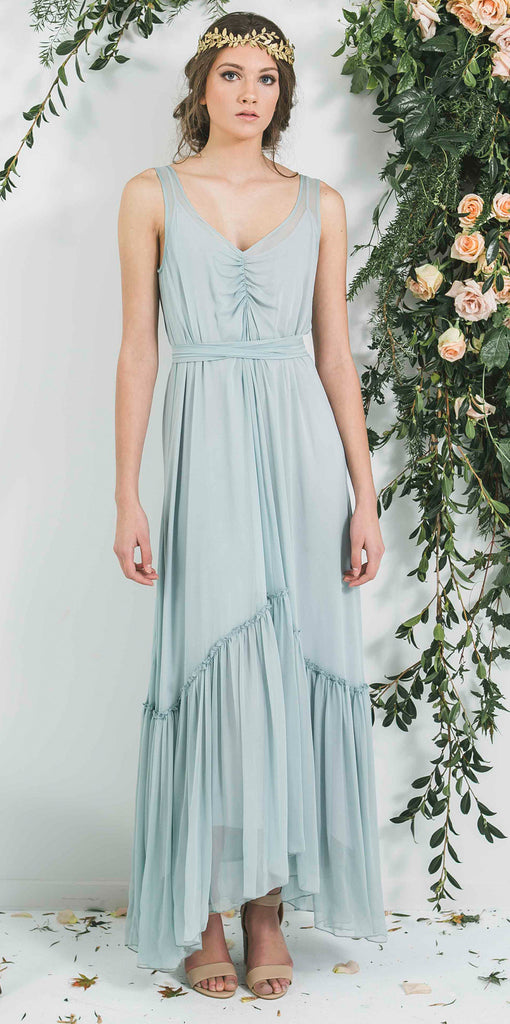 Quality Made in New Zealand Silk Ruffle Hem Bohemian Luxe Style Bridesmaid Dress you will wear again