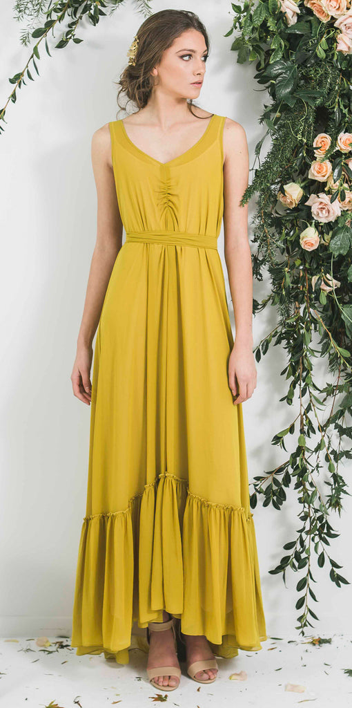 Quality Made in New Zealand Ruffle Hem Bohemian Luxe Style Bridesmaid Dress you will wear again