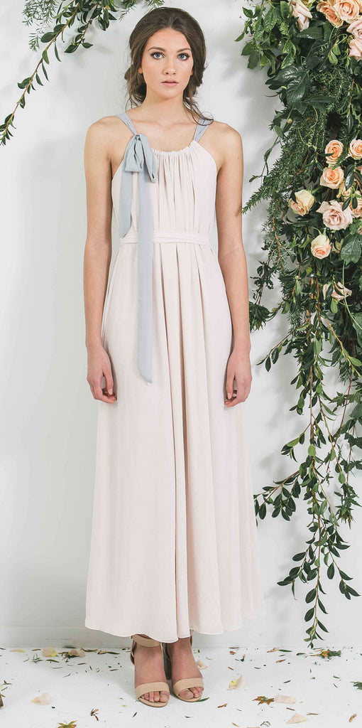 Cream Long Bridesmaid Dress with Neck Tie you will wear again