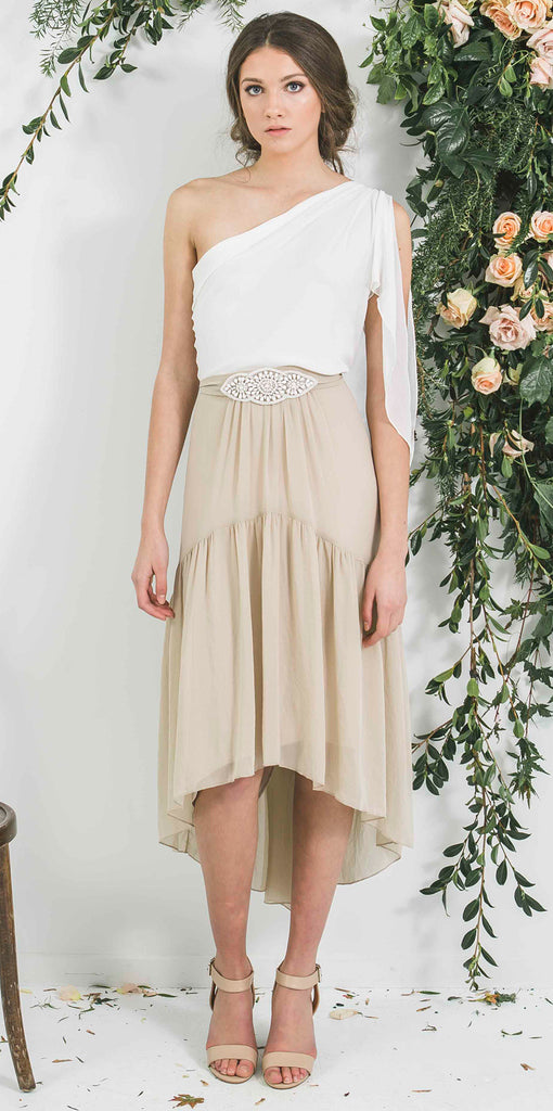Short Bohemian Style Victor Bridesmaid Skirt with Draped Asymmetric Ivory Top you will wear again
