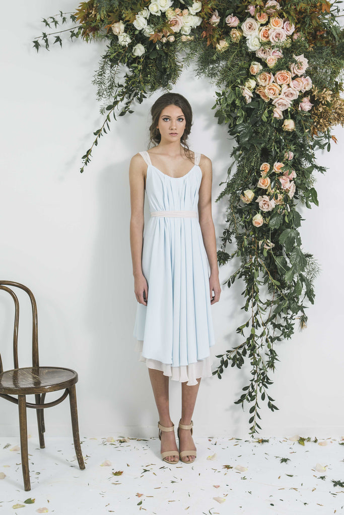Quality Beautiful Victor Bridesmaid Draped Midi length style bohemian dress you will wear again. Made in New Zealand