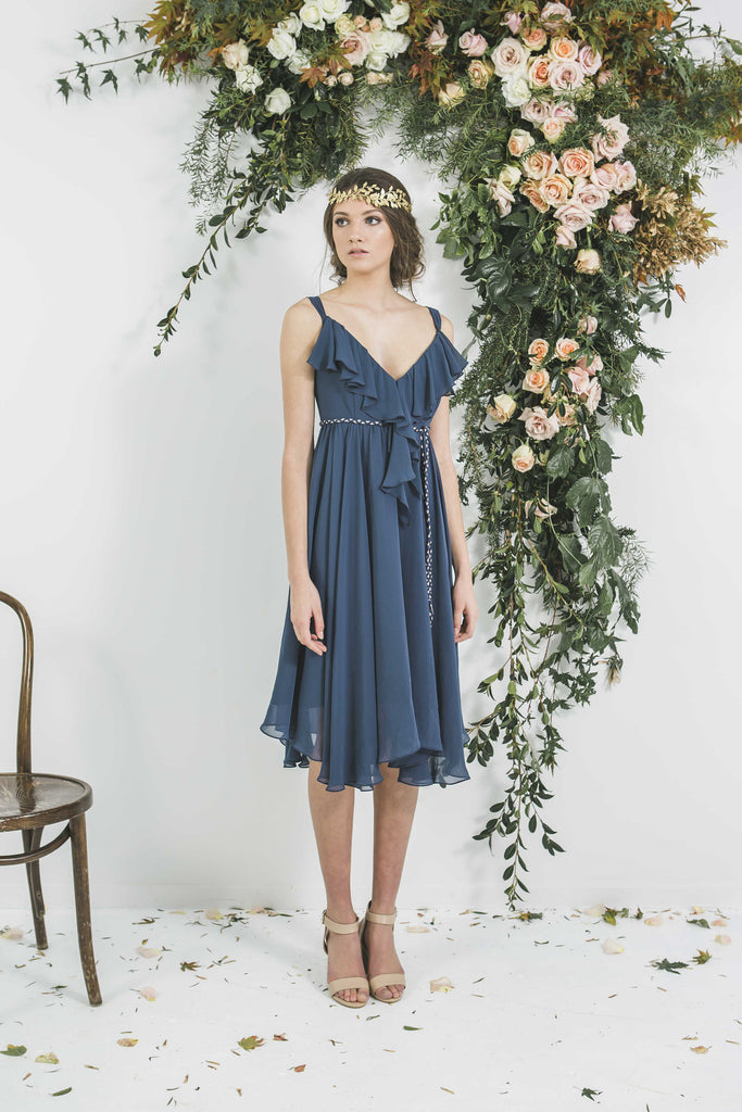 Short Navy Ruffle Neck Bohemian Style Victor Bridesmaid Dress you will wear again