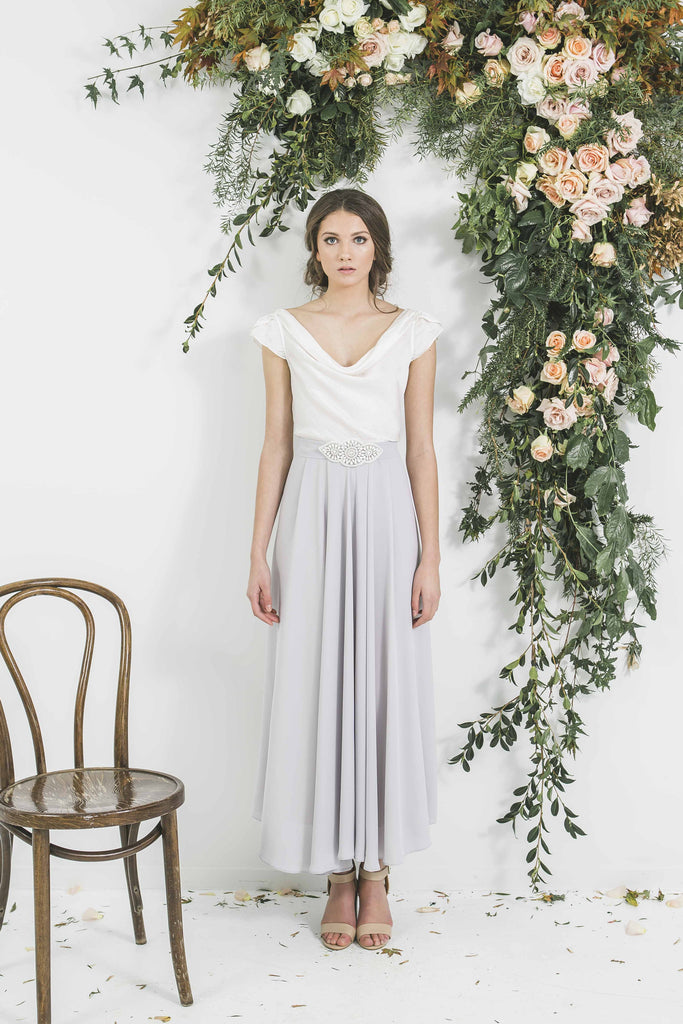 Quality Made in New Zealand Draped Blue Grey Victor Bridesmaid Blue Grey Bohemian Style Skirt with Ivory Top you will wear again