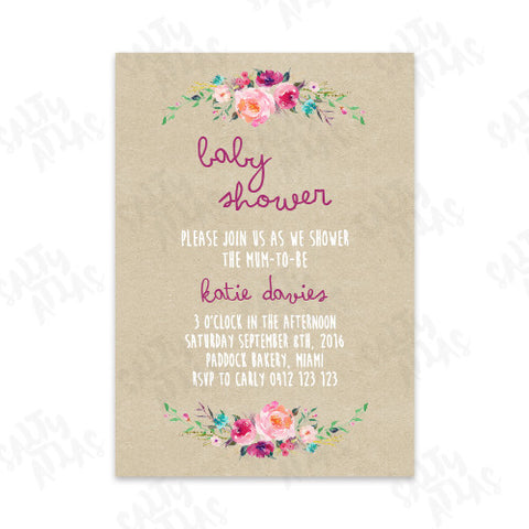 Kraft Floral Baby Shower Invitation