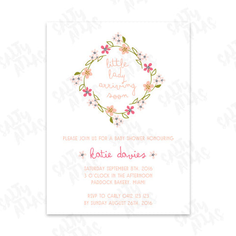 Little Lady Floral Baby Shower Invitation