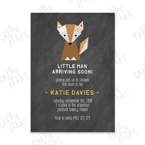 Fox Little Man Baby Shower Invitation