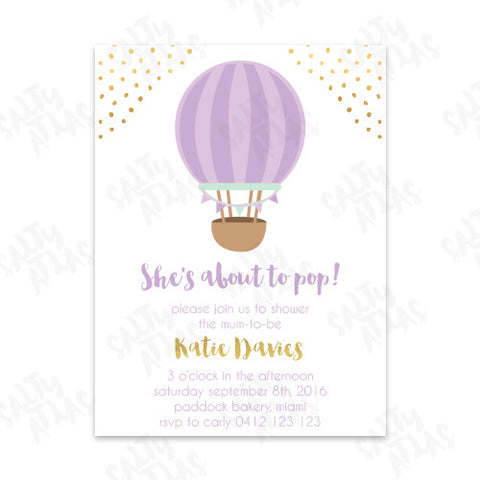 Pop Purple Baby Shower Invitation