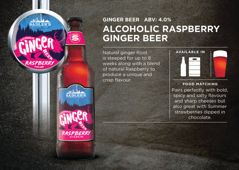 Raspberry Alcoholic Ginger beer - 4% ABV