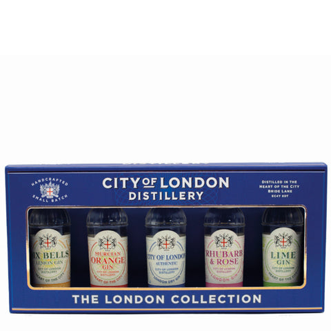 City of London Distillery Gin Taster Gift Pack - Box of 5x 5cl Miniature Bottles