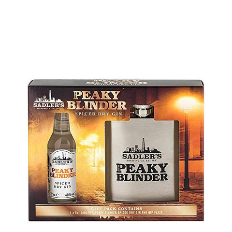 Sadler's Peaky Blinder Spiced Dry Gin Miniature & Hip Flask Gift Set