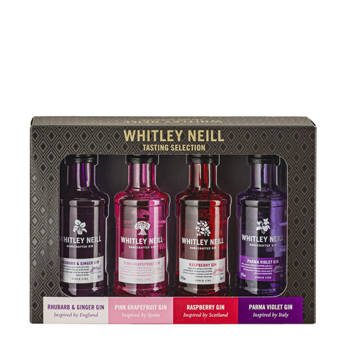 Whitley Neill Gin Tasting Selection Miniature Gift Set - Rhubarb & Ginger, Grapefruit, Raspberry & Parma Violet.