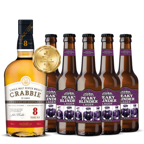 Crabbie 8 Year Old Scotch Whisky + 12 Bottles of Lager Offer