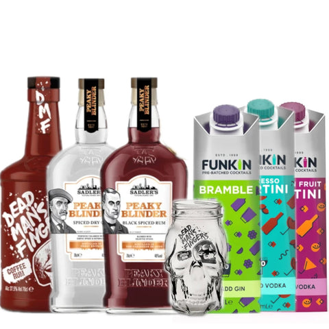 Funkin Friday- The Full Range- 6 Funkin Cocktail Mixes, 4 Bottles of Spirits & 2 Mason Jars