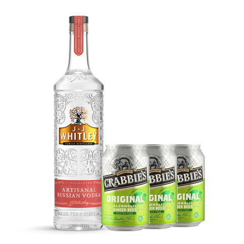 J.J Whitley Artisanal Russian Vodka + 6 Cans of Crabbie's Ginger Beer